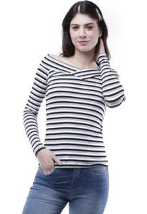 Blusa Pop Me Ombro A Ombro Listrada Feminina - Feminino-Mescla