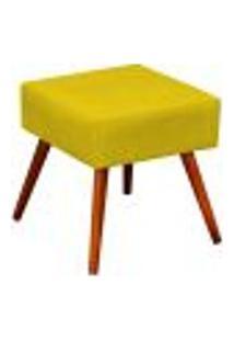 Puff Banqueta Decorativa Com Pés Palito Lívia W01 Suede Amarelo - Lyam Decor