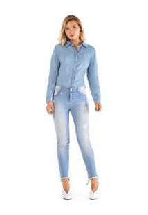 5a295e66f ... Calca Slim Cropped Giane Cos Alto Barra Desfiada Jeans