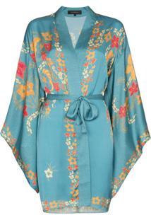 Celia Dragouni Jaqueta Oversized Floral - Azul
