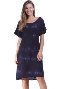 Vestido Curto Amazonia Vital Quadrado Tie Dye Blue