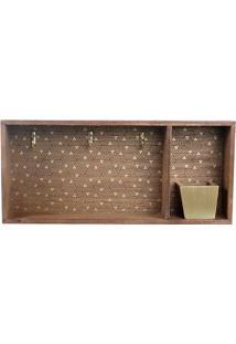 Porta Chave Estampado- Marrom & Dourado- 18X40X6Cm