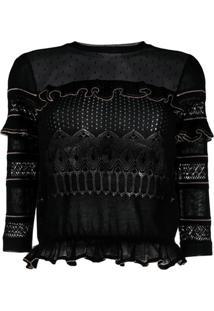 Redvalentino Blusa De Tricô Com Recortes - Preto