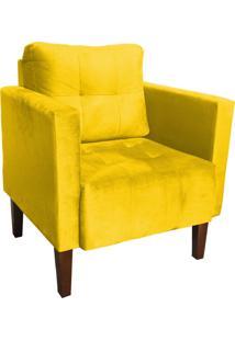 Poltrona Decorativa Lívia Para Sala E Recepção Suede Amarelo - D'Rossi