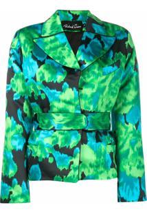 Richard Quinn Floral Print Cinched Jacket - Verde
