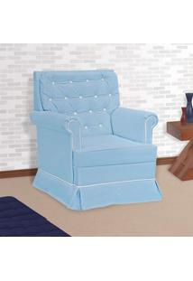 Poltrona Amamentação Giulia Com Balanço S/ Puff Azul E Branco