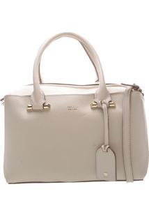 Bolsa Em Couro Texturizada Com Bag Charm- Bege Claro & Darezzo & Co.