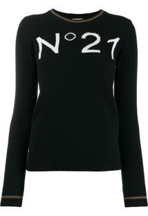 Nº21 Suéter De Tricô Com Padronagem - Preto