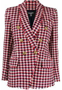 Balmain Blazer De Tweed Com Padronagem Pied-De-Poule - Vermelho