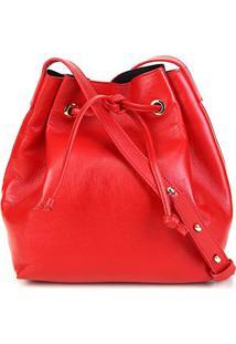 Bolsa Couro Shoestock Bucket Lisa Feminina - Feminino-Vermelho