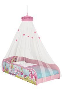 Cama Barbie Dreamtopia Plus C/Dorsel De Teto Branca E Rosa Pura Magia