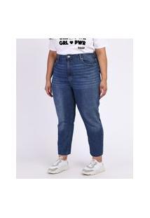 Calça Jeans Feminina Plus Size Reta Cigarrete Cintura Alta Azul Escuro