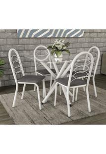 Conjunto De Mesa Tampo Vidro Volga Com 4 Cadeiras Holanda Crome Kappesberg Branco/Linho Cinza