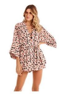 Kimono Curto Com Faixa Nude/Preto