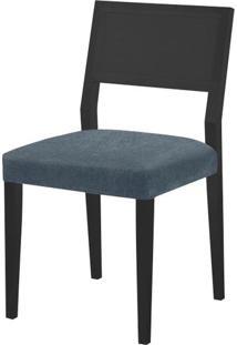 Cadeira Caiscais Assento Cor Azul Com Base Laca Preto Fosco - 46496 - Sun House