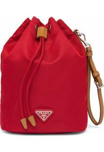Prada Bolsa Bucket Pequena De Nylon - Vermelho