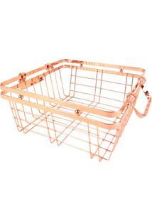 Cesta Quadrada Com Vazados- Bronze- 11,5X25,5X25,5Cmbtc Decor