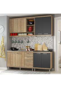 Cozinha Compacta Sicilia 8 Portas 3 Gavetas Premium Argila/Grafite - Multimóveis