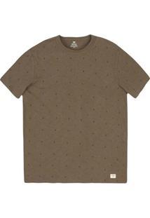 Camiseta Masculina Slim Em Malha De Algodão Com Estampa Micro
