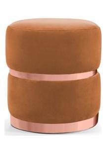 Puff Decorativo Com Cinto E Aro Rosê Round B-262 Veludo Laranja - Domi