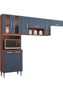 Cozinha Compacta 8 Portas Lavínia Capuccino/Cinza Platinum - Poquema