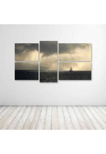 Quadro Decorativo - Storm Weather Rain Sky Clouds Nature - Composto De 5 Quadros - Multicolorido - Dafiti