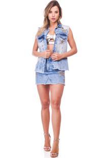 Colete Richini Jeans Azul - Azul - Feminino - Dafiti