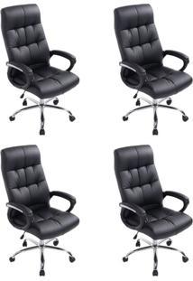 Conjunto Com 4 Cadeiras De Escritório Presidente Marjo Preto