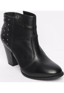 Ankle Boot Em Couro Com Aplicações - Preta - Salto: Carmen Steffens