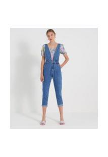 Macacão Mom Jeans Liso Com Decote V E Pregas | Blue Steel | Azul | 46