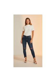 Calça Leboh Cigarrete Cós Intermediário Barra Assimétrica Jeans