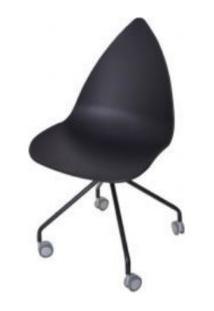 Cadeira Pingo Com Rodizio Falkk Fl-023 Preto