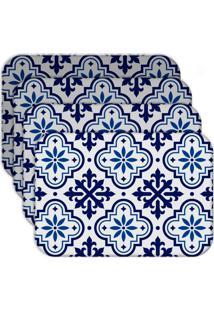 Jogo Americano Love Decor Ladrilho Blue Kit Com 4 Peças - Kanui