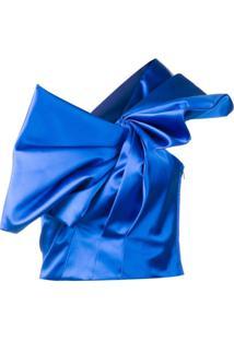 Saint Laurent Blusa Cropped De Seda Com Laço - Azul