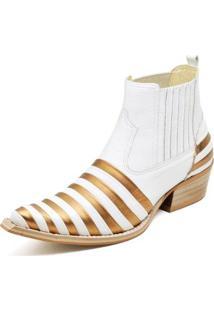 Botina Bota Country Bico Fino Top Franca Shoes Verniz Preto / Dourado - Masculino-Dourado+Branco