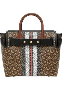 Burberry The Small Monogram Stripe E-Canvas Tote Bag - Marrom