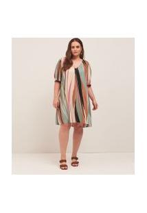 Vestido Curto Decote V Estampado Em Viscose Curve & Plus Size   Ashua Curve E Plus Size   Multicores   Gg
