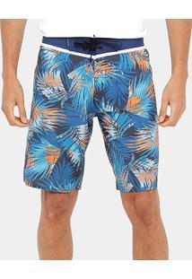 Bermuda Quiksilver Floral Everyday Masculina - Masculino-Azul+Laranja