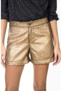 Short Wool Line Craquelado Dourado