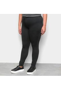 Calça Legging Maelle Plus Size Feminina - Feminino-Preto