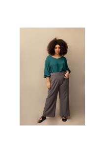 Calça Alfaiataria Pantalona Plus Size Grafite-G