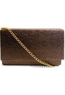 Bolsa Clutch Textura Brilhosa - Marrom