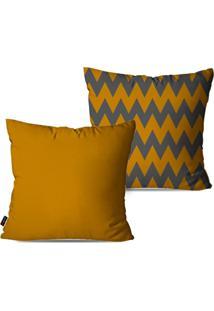 Kit Com 2 Capas Para Almofadas Decorativas Chervron Ocre E Chumbo 45X45Cm - Amarelo - Dafiti