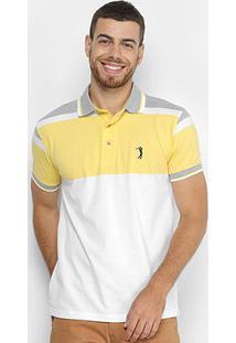 Camisa Polo Aleatory Listrada Masculina - Masculino-Amarelo+Cinza