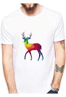 Camiseta Veado Colorido Masculina - Masculino-Branco