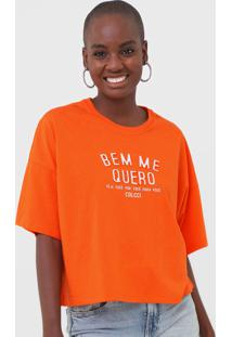 Camiseta Colcci Bem Me Quero Neon Laranja - Kanui