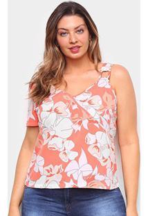 Blusa Allexia Plus Size Assimétrica Feminina - Feminino-Laranja