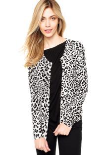 Cardigã Ladies Fashion Animal Print Off White/Preto