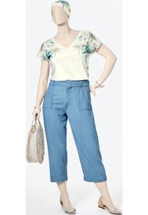 Calça Azul Claro Pantacourt Jeans Liocel