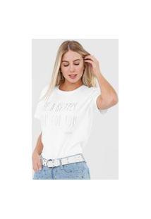 Camiseta Morena Rosa Lettering Aplicações Branca